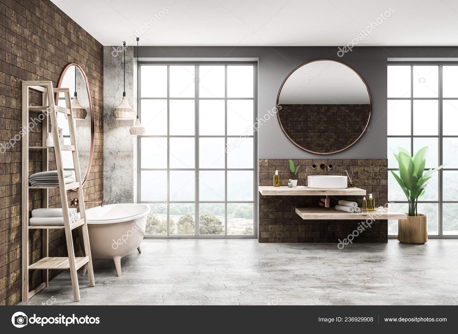 Innere Des Modernen Badezimmer Mit Ziegel Grau Und Beton ...