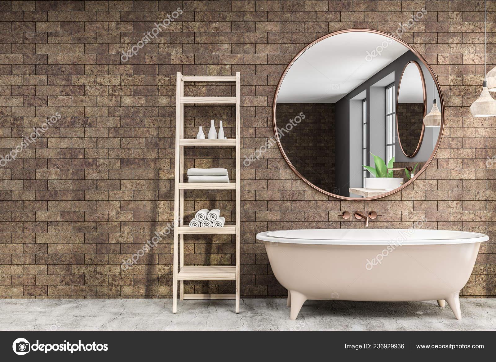 Vasca Da Lavare In Cemento : Interno del bagno moderno con pareti mattoni pavimento cemento