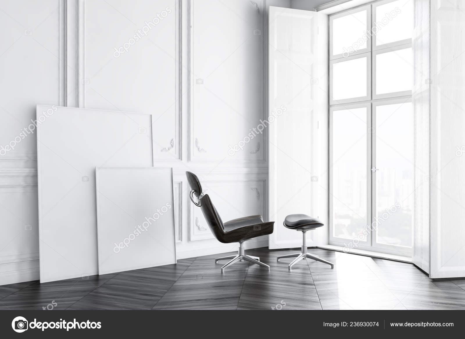 Corner Minimalistic Living Room White Walls Dark Wooden