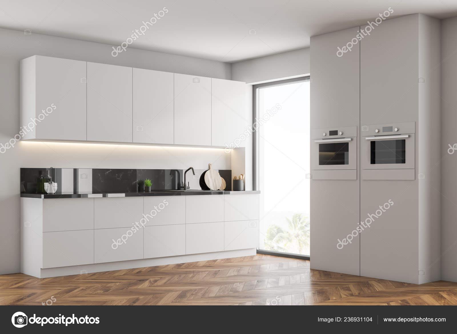 Corner Modern Kitchen White Walls Wooden Floor White Cupboards