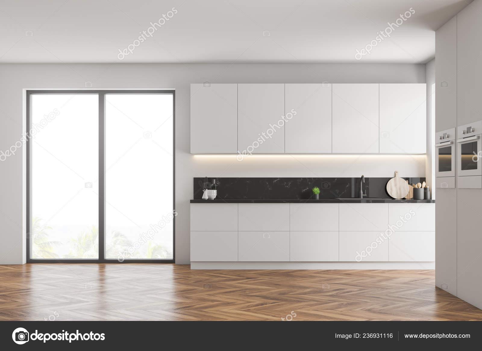Interior Modern Kitchen White Walls Wooden Floor White Cupboards