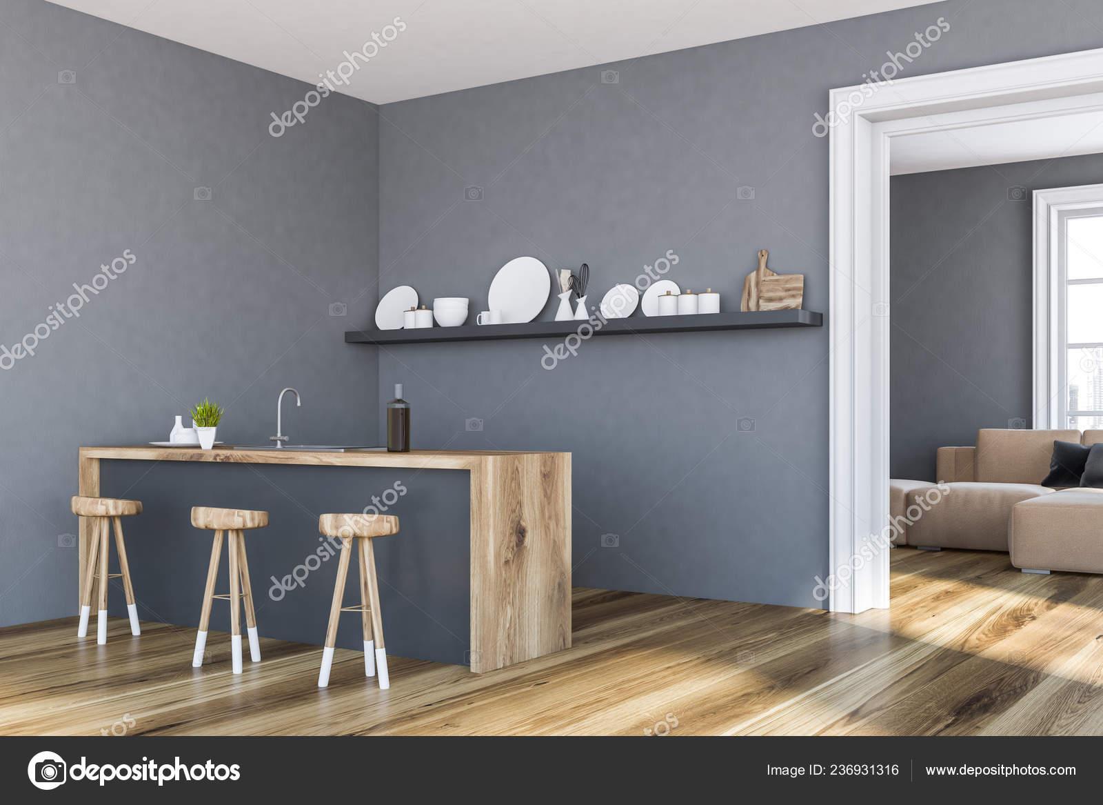 Angolo della cucina elegante con pareti grigie pavimento legno