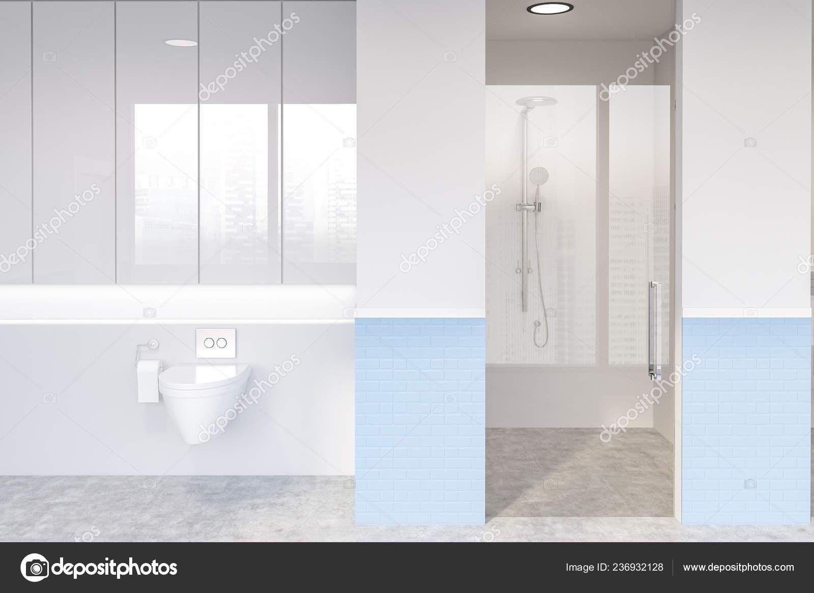 Interior Modern Bathroom White Blue Brick Walls Shower Stall