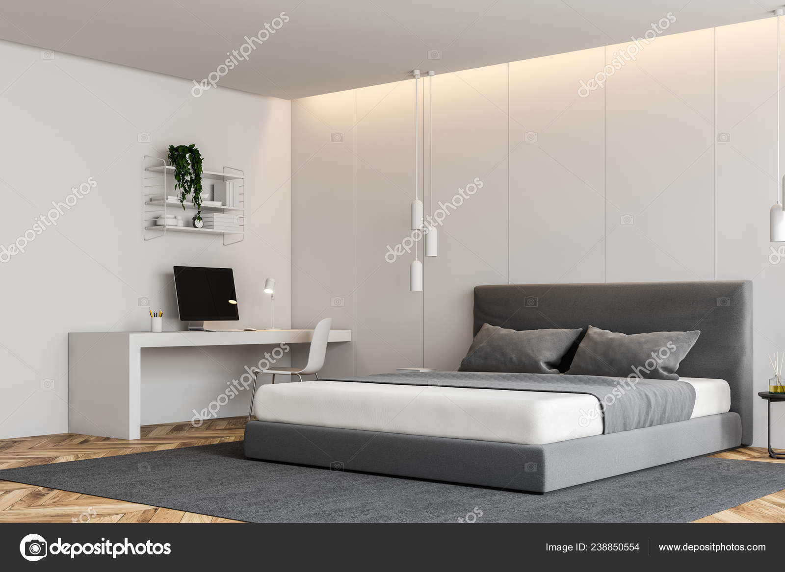 Corner Modern Bedroom White Walls Wooden Floor Gray Master Bed Stock Photo Image By C Denisismagilov 238850554