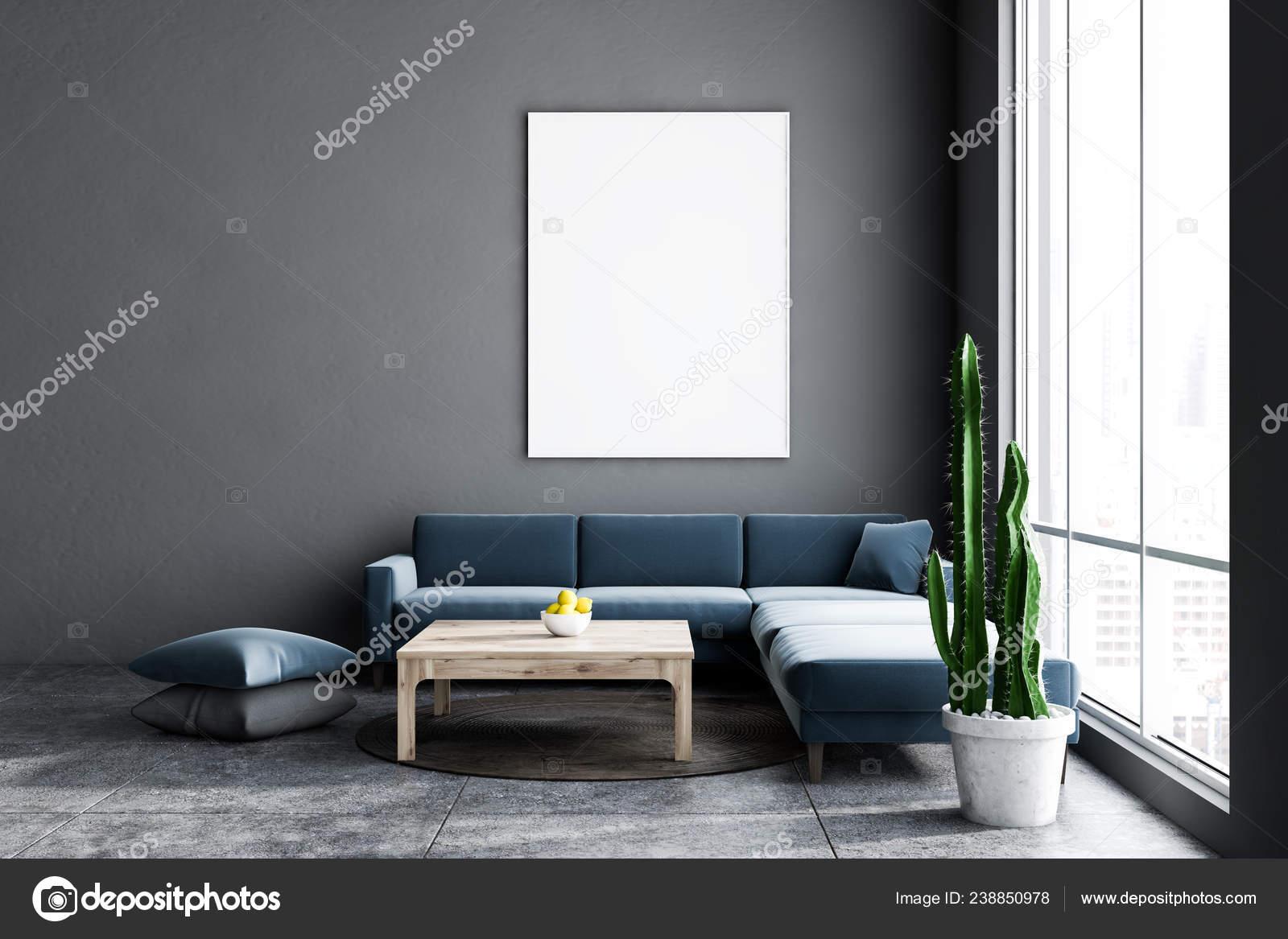 Minimalistic Living Room Interior Gray Walls Tiled Floor Dark Blue Stock Photo Image By Denisismagilov 238850978