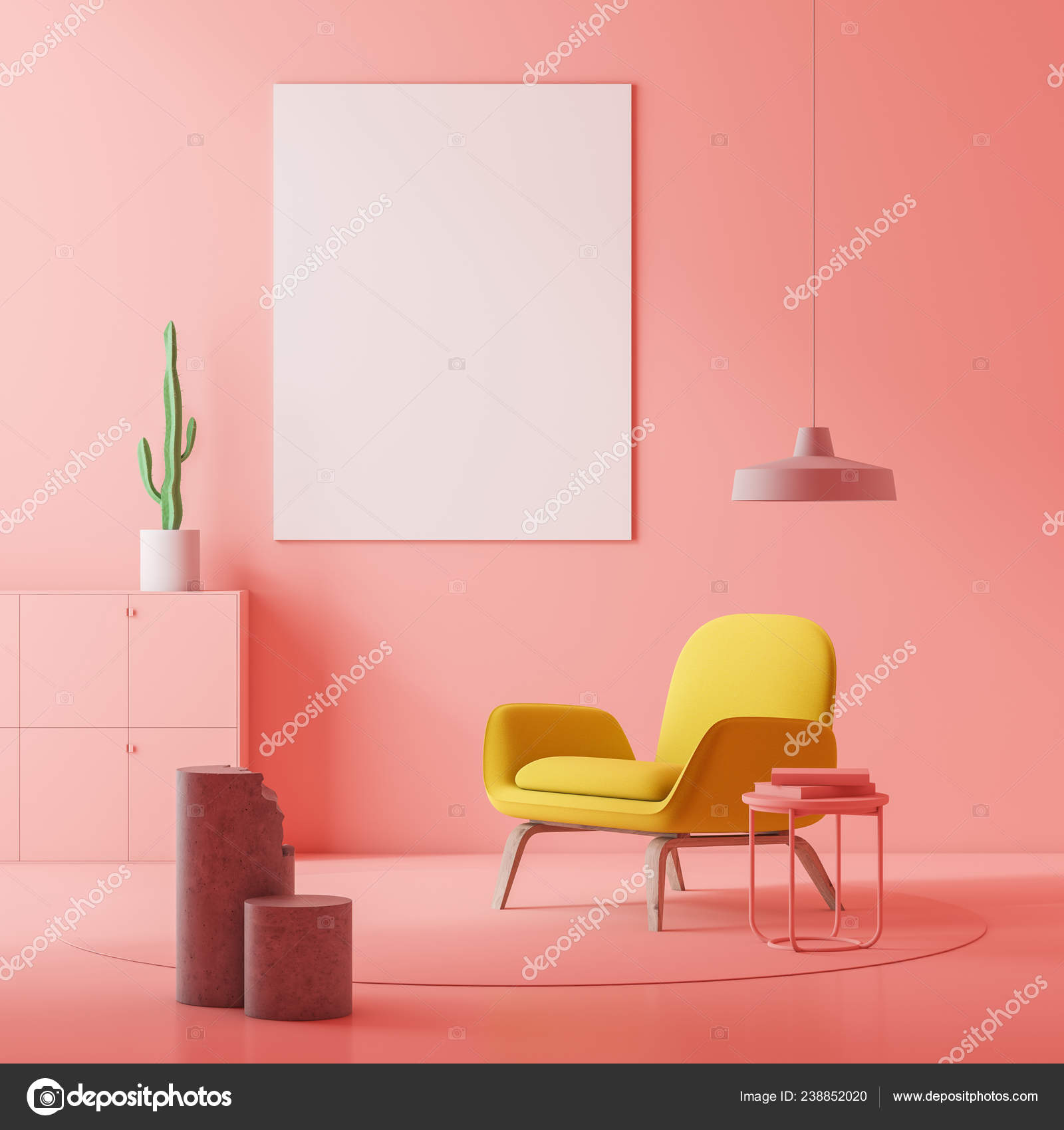 Pink Living Room Interior Yellow Armchair Standing Coffee Table
