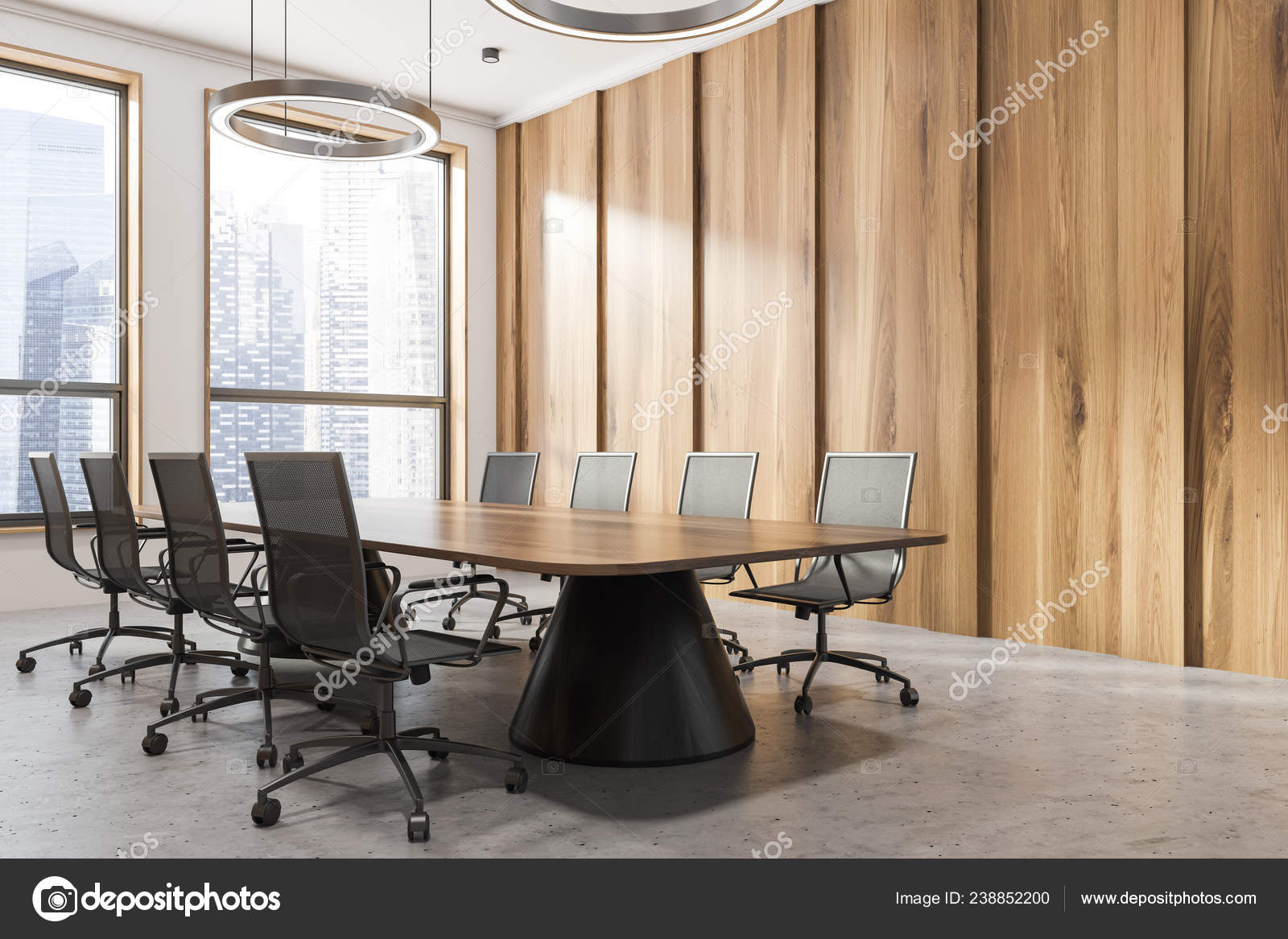 Corner of office meeting room with dark wooden walls, stone floor, two  large windows and long dark wooden table with black chairs. 42d rendering