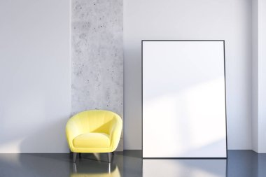 Interior of minimalistic living room with white and stone walls, gray floor and yellow armchair standing near vertical poster on the floor. 3d rendering mock up