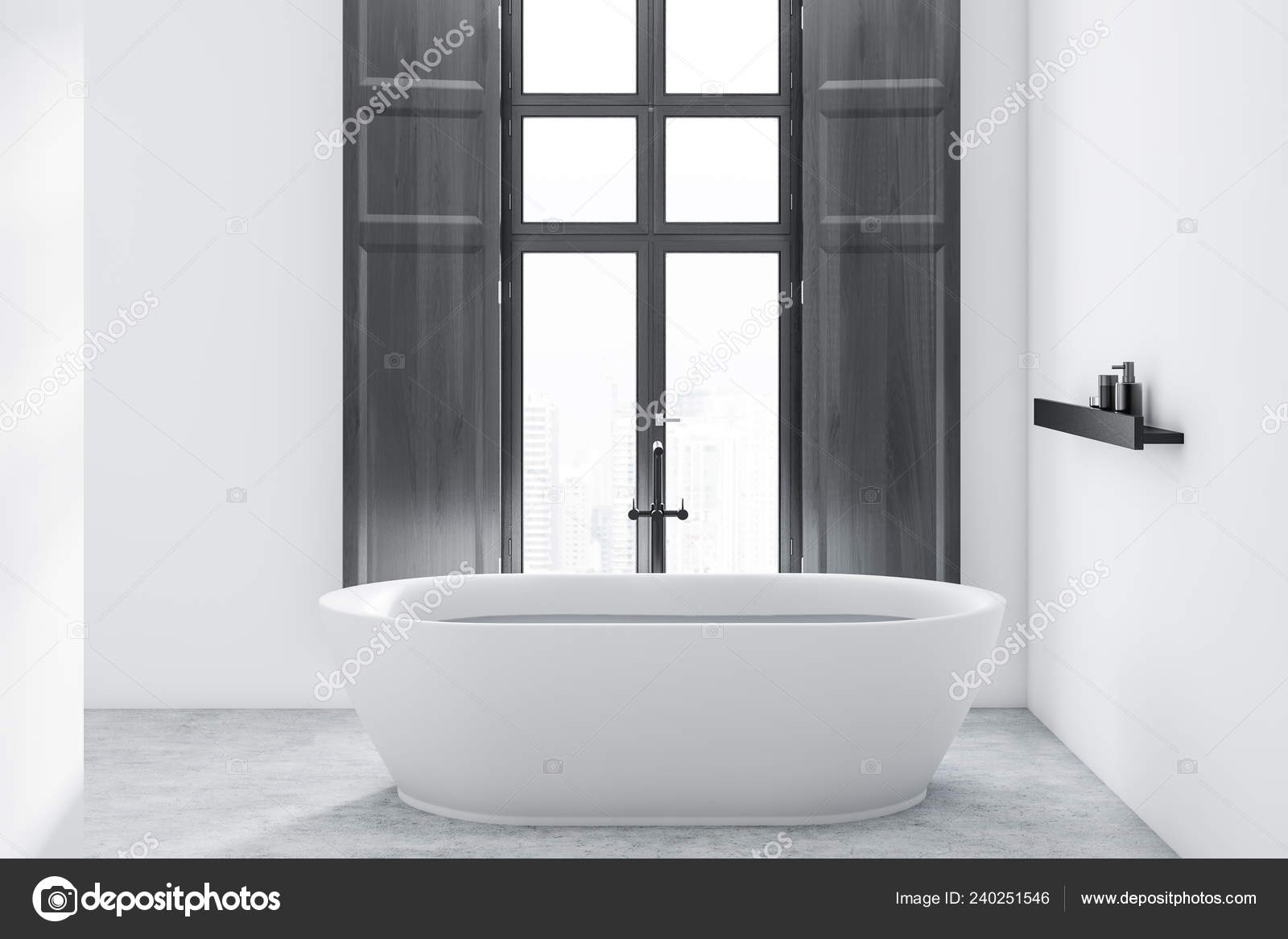 Interior Minimalistic Bathroom White Walls Concrete Floor