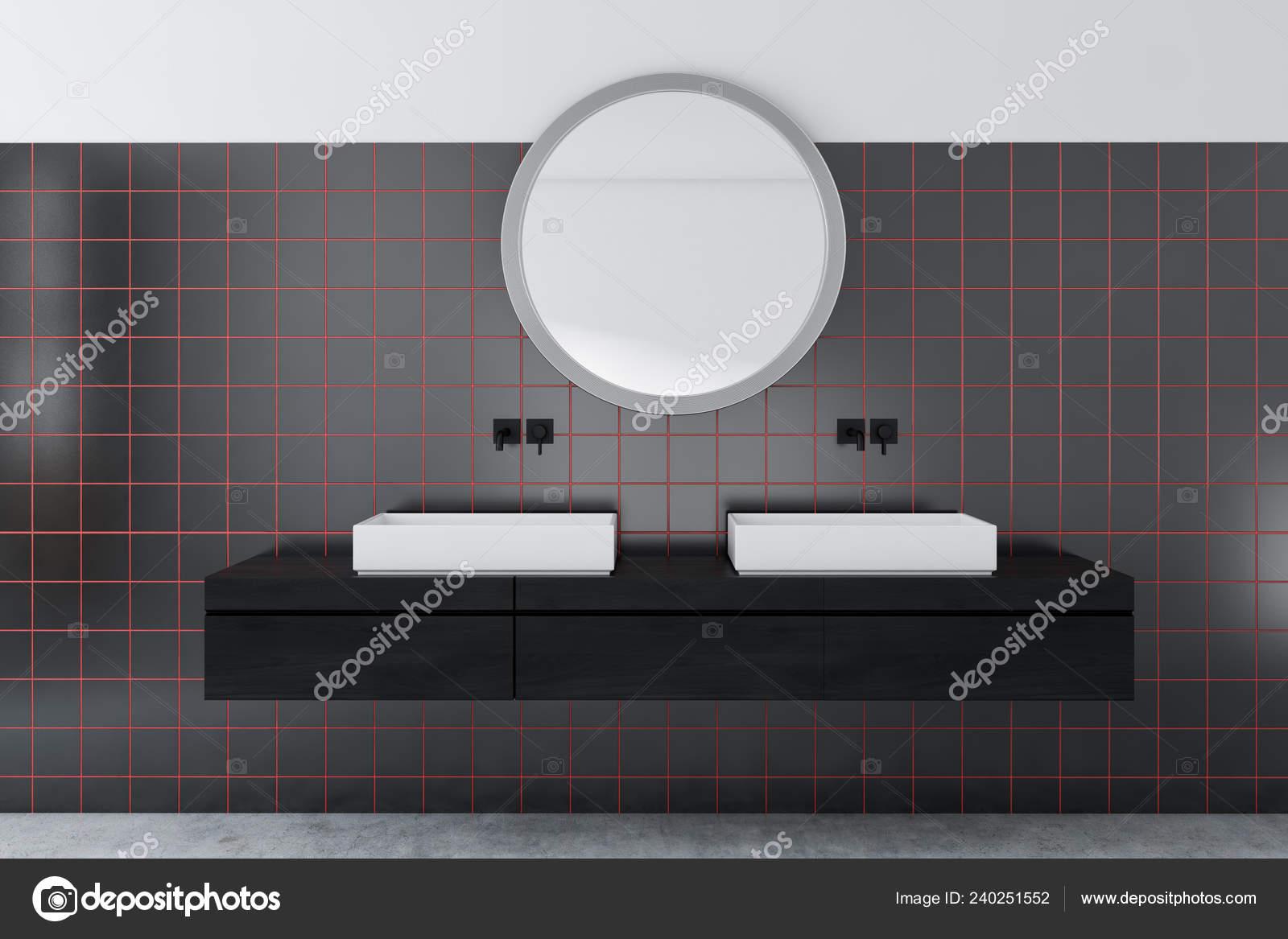 Interior Bathroom White Black Tile Walls Concrete Floor Double Sink — Stock Photo