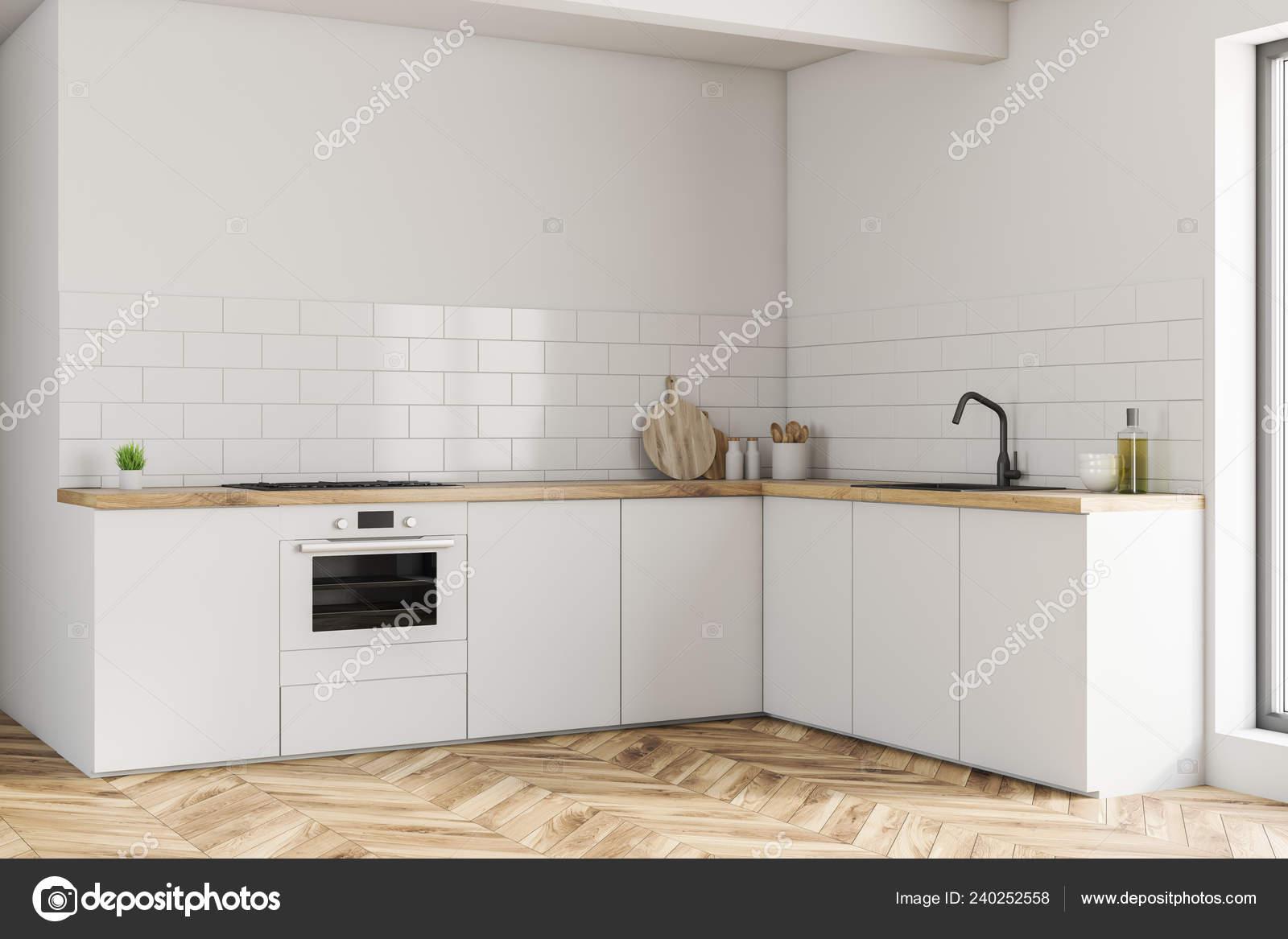 Corner Small Kitchen White Walls Wooden Floor White Countertops Built Stock Photo Image By C Denisismagilov 240252558