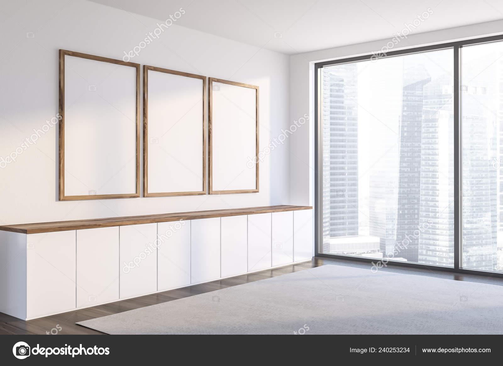 Corner Living Room White Walls Dark Wooden Floor Gray Carpet ...