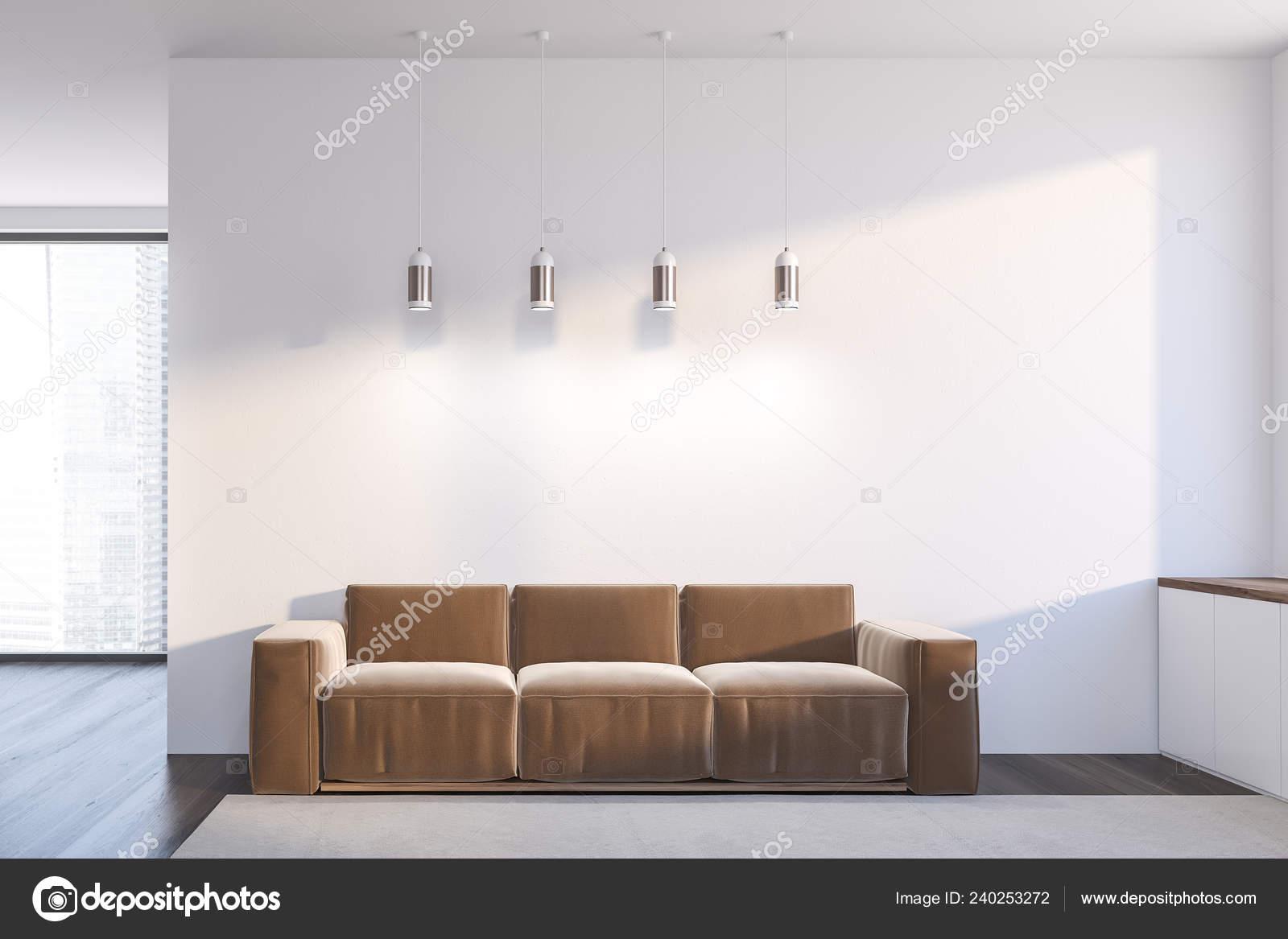 Interior Minimalistic Living Room White Walls Dark Wooden Floor Carpet Stock Photo C Denisismagilov 240253272
