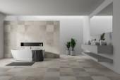 A belső tér fehér és bézs csempe falak, fehér fürdőkád szürke törölköző lógott rajta, és dupla mosdó, elegáns fürdőszobával rendelkezik. 3D-leképezés