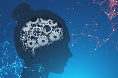 Woman head silhouette with brain with gears inside it over dark blue background with polygons. Concept of creative thinking. 3d rendering toned image double exposure