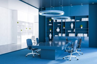 Corner of office meeting room with blue walls and floor, long table with blue chairs and blue bookcase. 3d rendering