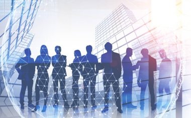 Silhouettes of business people standing together and communicating over skyscraper background with double exposure of planet hologram. International company concept. Toned image