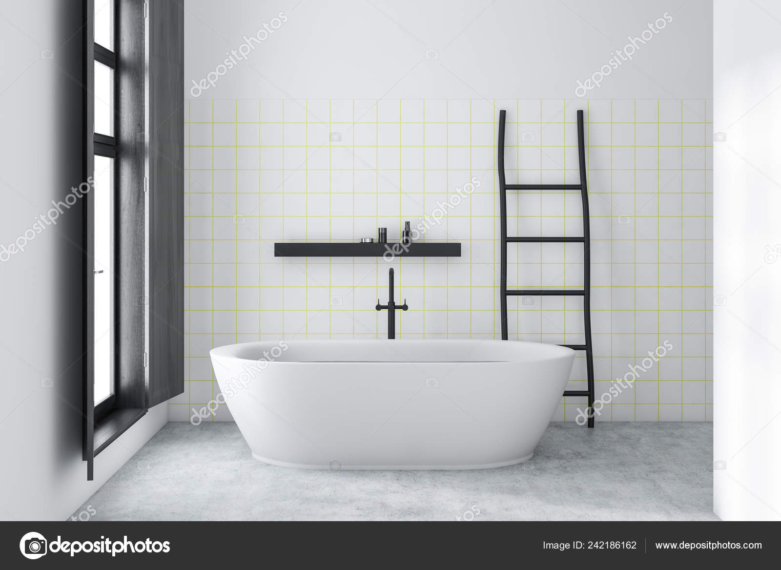Interior Minimalistic Bathroom White White Tile Walls Concrete Floor White Stock Photo Image By C Denisismagilov 242186162