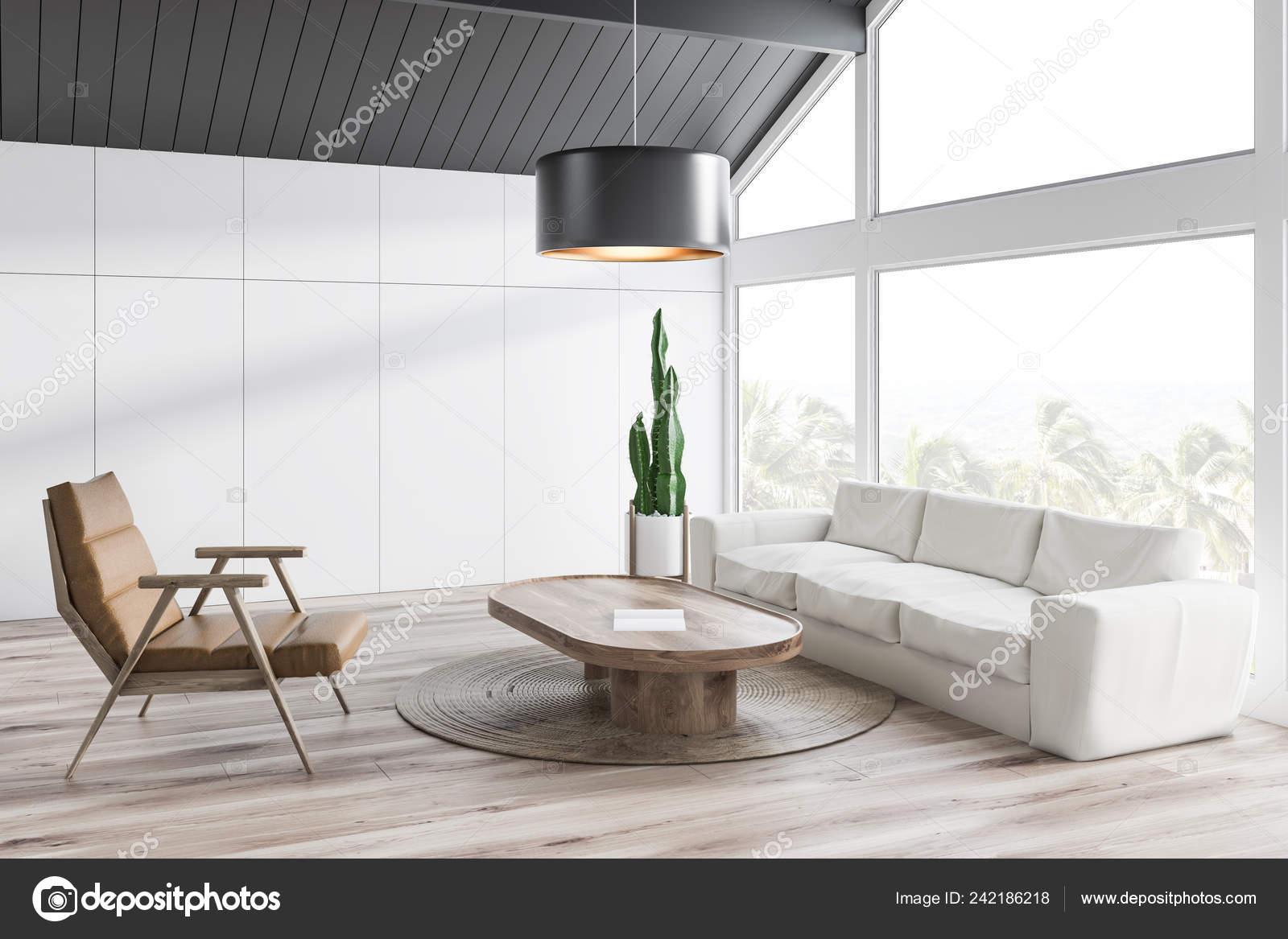 Corner Attic Living Room White Walls Gray Ceiling Wooden Floor Stock Photo C Denisismagilov 242186218