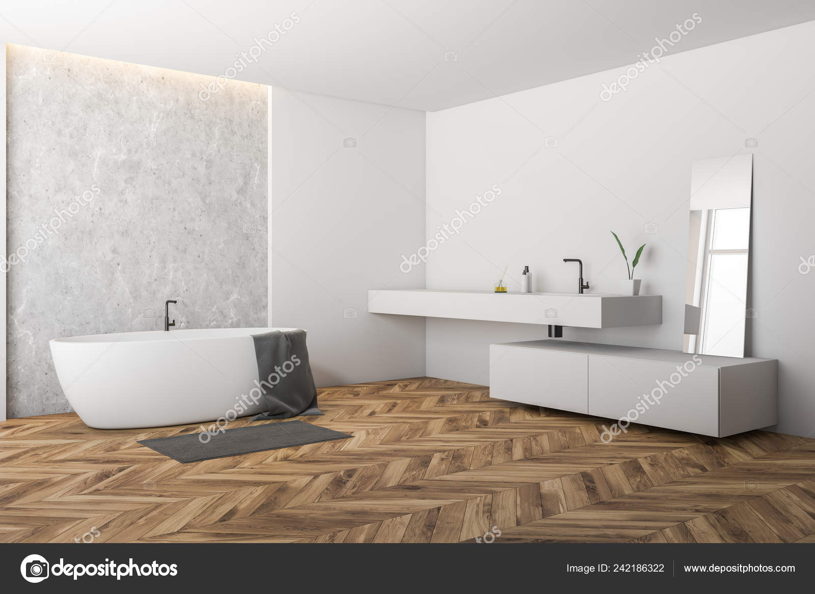 Vasca Da Lavare In Cemento : Angolo della stanza bagno moderna con pareti bianche cemento