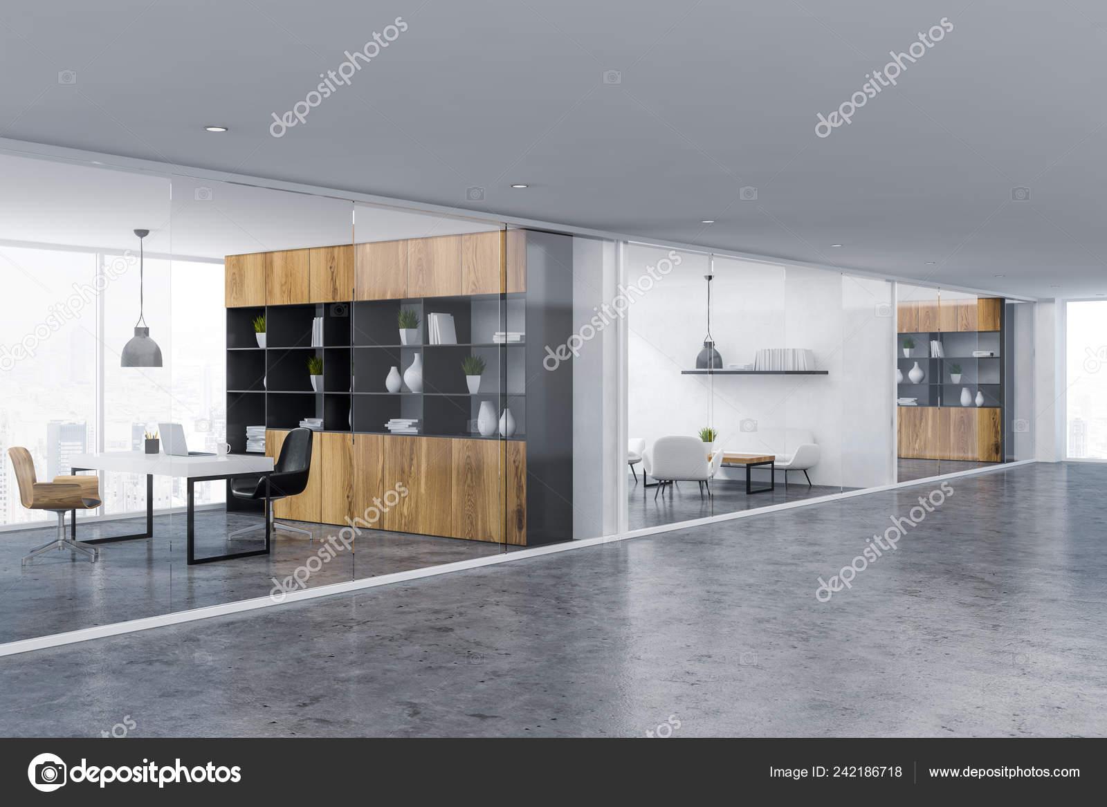 Bureau hall intérieur avec chambre gestionnaire bibliothèque bois