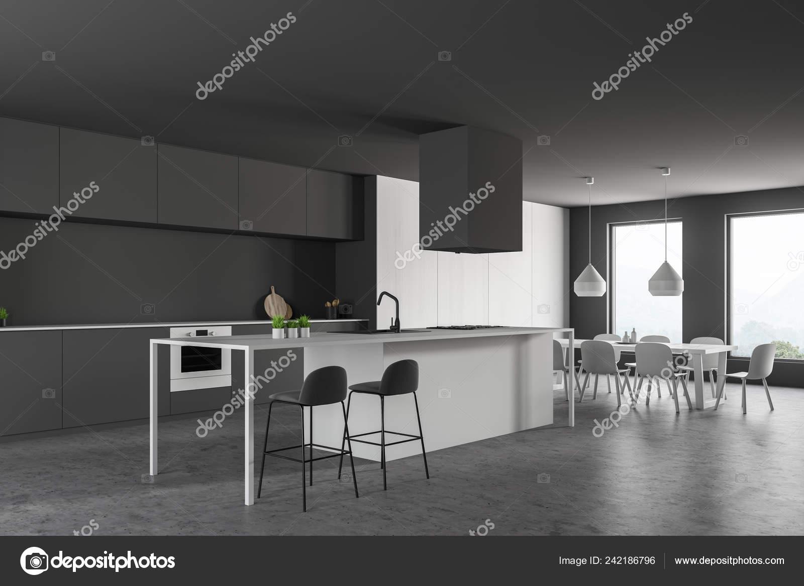 400d6e0d8847 Esquina Cocina Moderna Con Piso Piedra Encimeras Grises Paredes Grises —  Foto de Stock