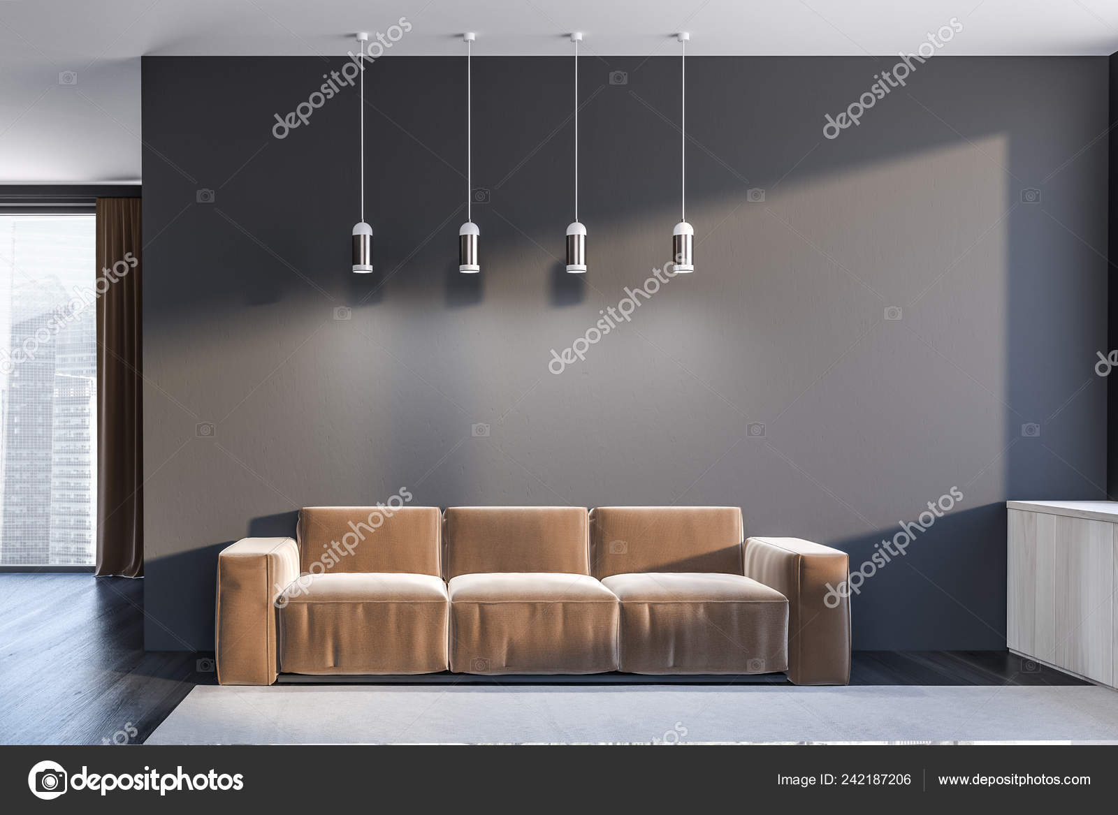 Pleasing Interior Minimalistic Living Room Gray Walls Black Wooden Dailytribune Chair Design For Home Dailytribuneorg