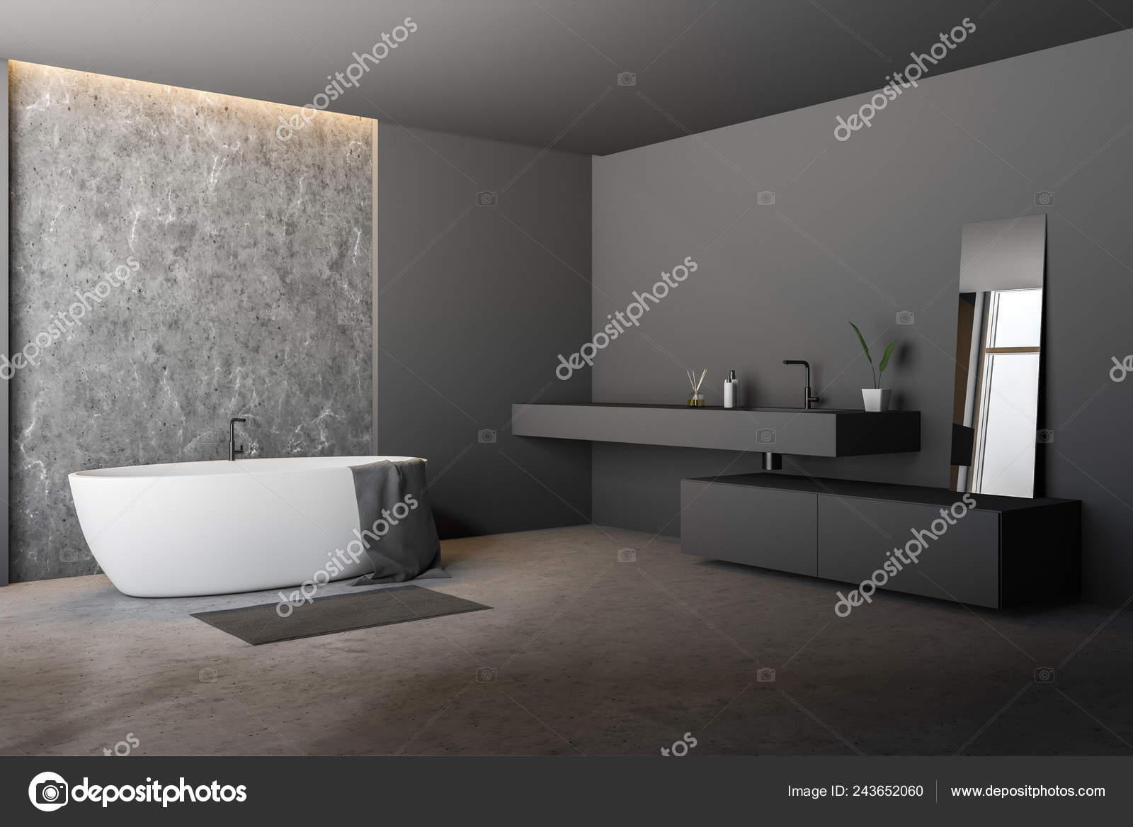 Beton Fußboden Wohnung ~ Ecke des modernen badezimmer mit grau und beton wände fußboden