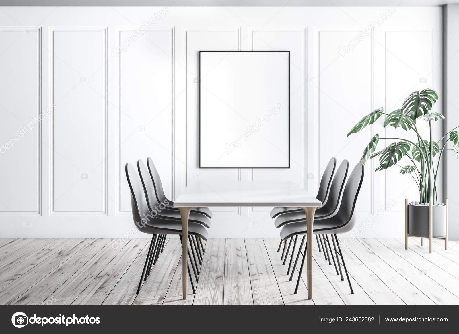 Intérieur Salle Manger Moderne Avec Des Murs Blancs Plancher