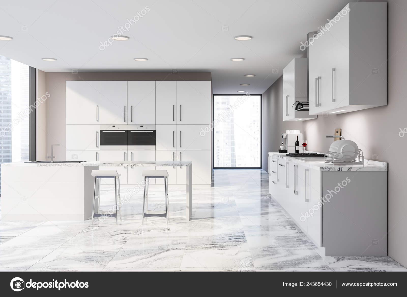 Interior Stylish Kitchen Beige Walls White Marble Floor Bar Stools Stock Photo C Denisismagilov 243654430