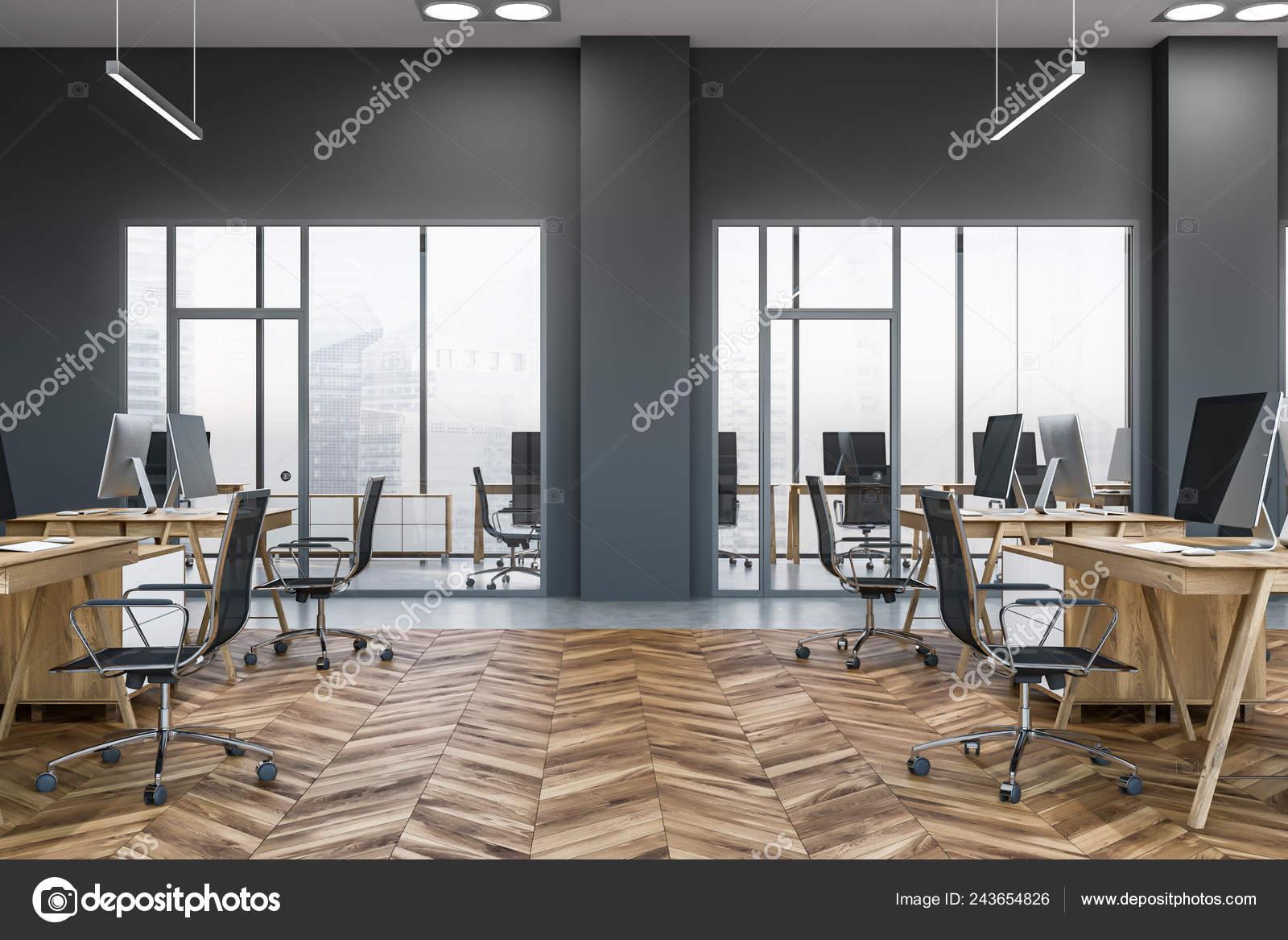 Vista Laterale Dell Ufficio Open Space Con Pareti Grigie Pavimento Foto Stock Foto Immagini C Denisismagilov 243654826 Depositphotos