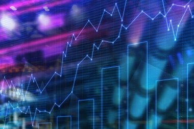 Blue glowing graphs and bar chart over blurred city background. Concept of trading and stock market. 3d rendering double exposure