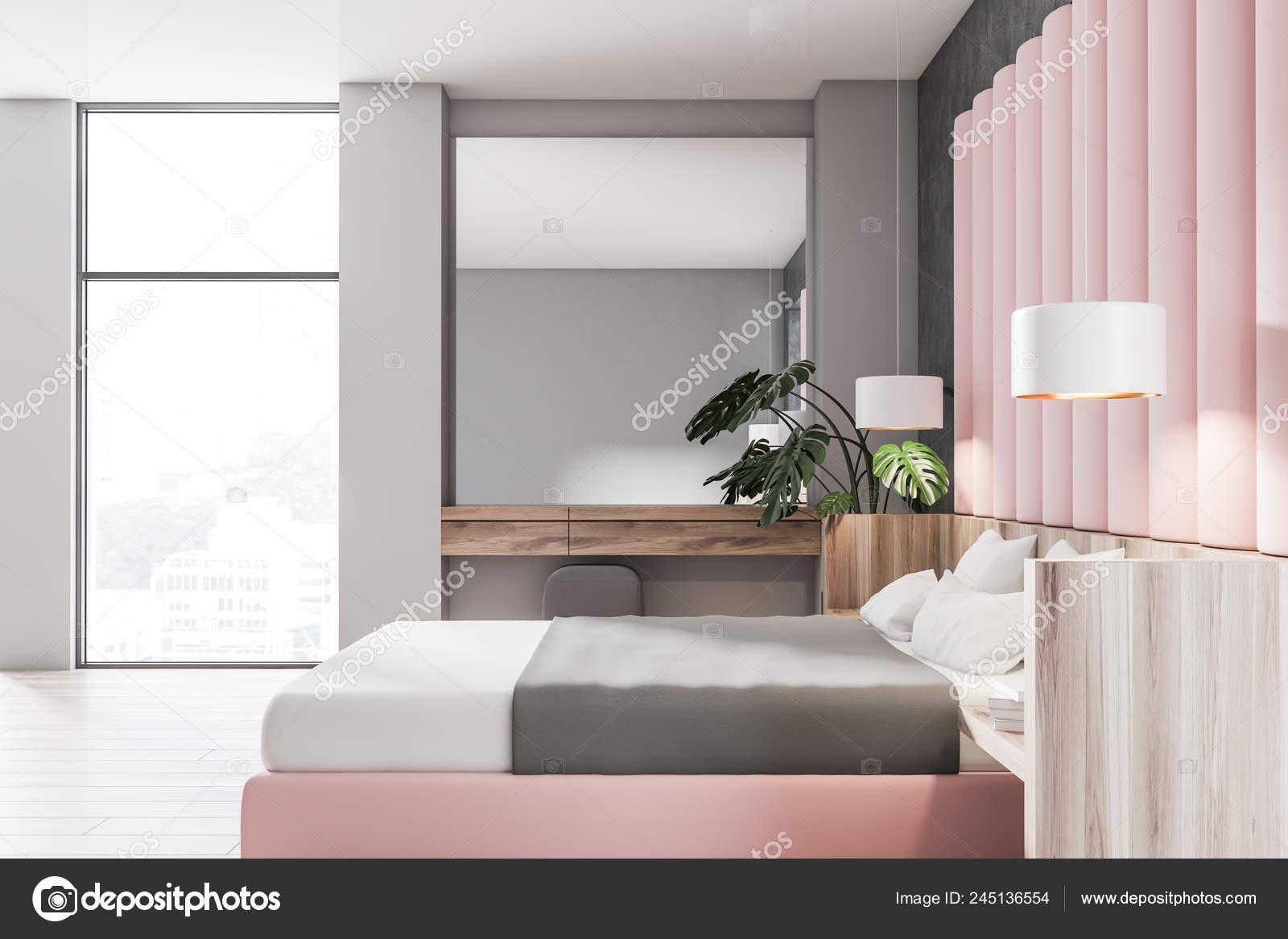 Side View Stylish Bedroom Gray Pink Walls Wooden Floor Loft ...