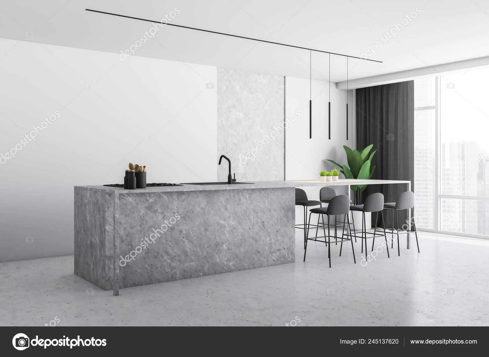Corner Modern Kitchen White Stone Walls Stone Floor Large Window Stock Photo Image By C Denisismagilov 245137620