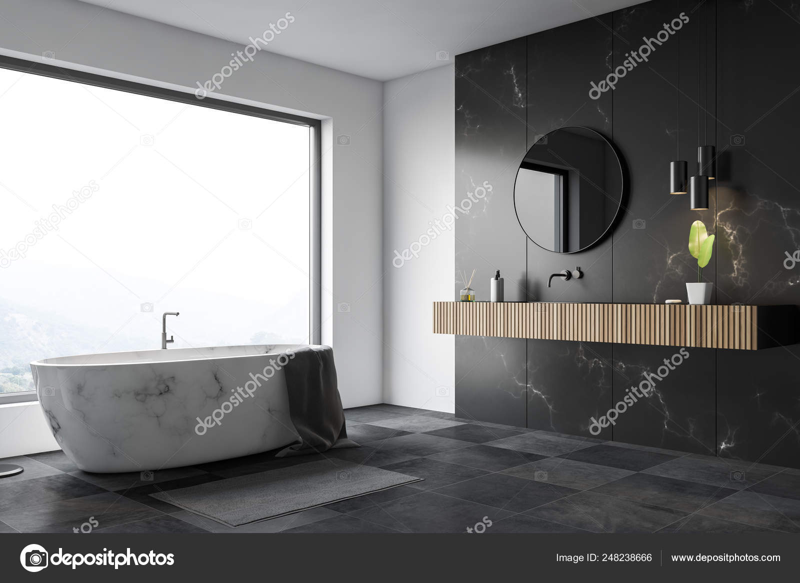 White And Black Marble Bathroom Corner Tub Sink Stock Photo C Denisismagilov 248238666