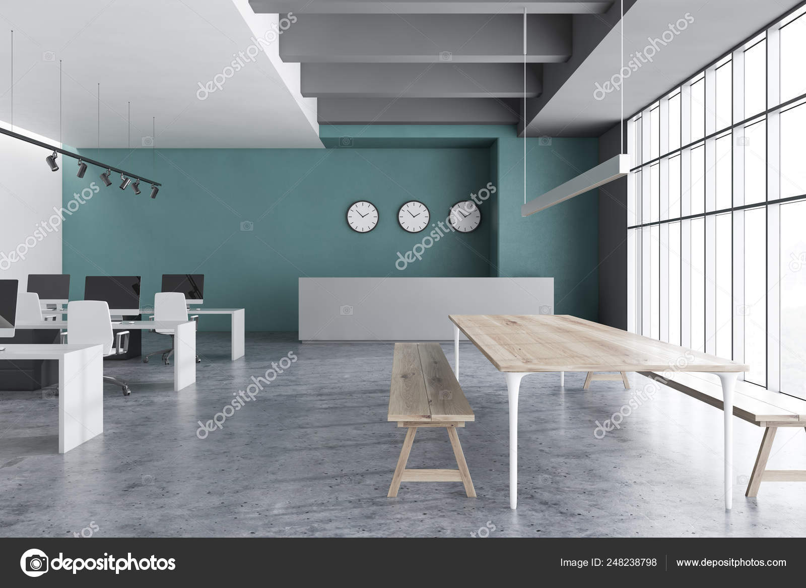 Swell Green Open Space Office With Reception Stock Photo Alphanode Cool Chair Designs And Ideas Alphanodeonline