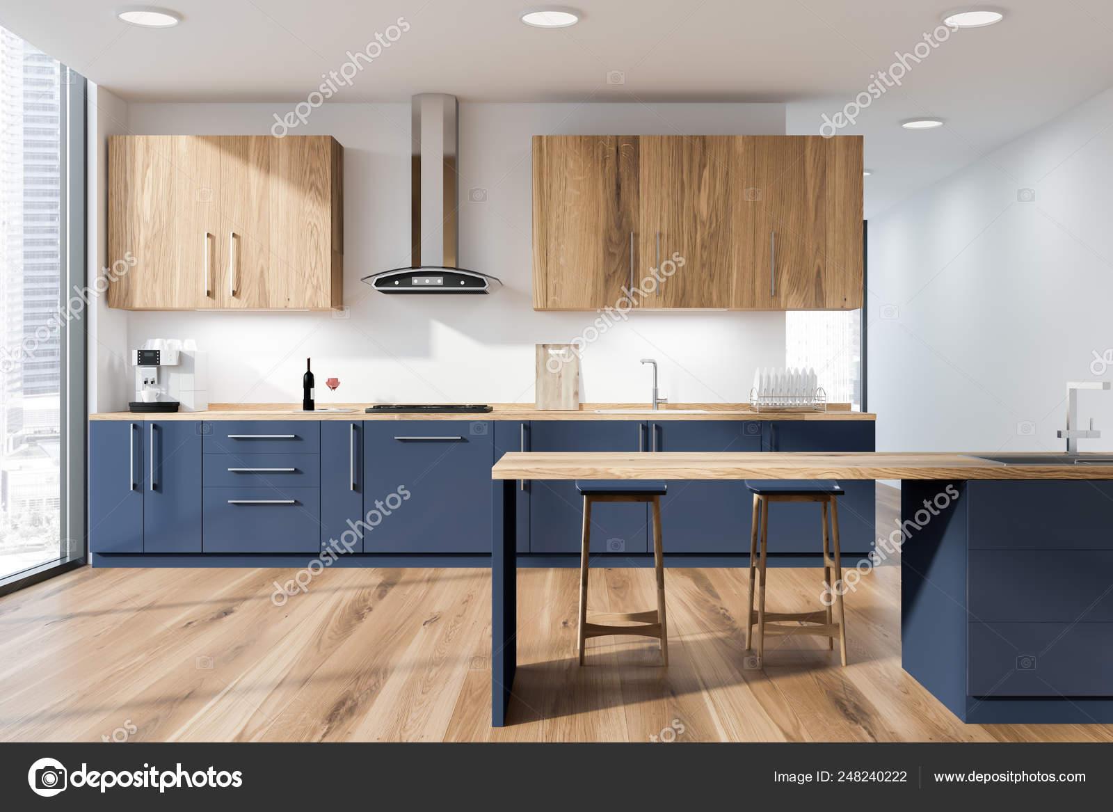 Witte Keuken Interieur Met Bar Stockfoto Rechtenvrije Foto Door C Denisismagilov 248240222