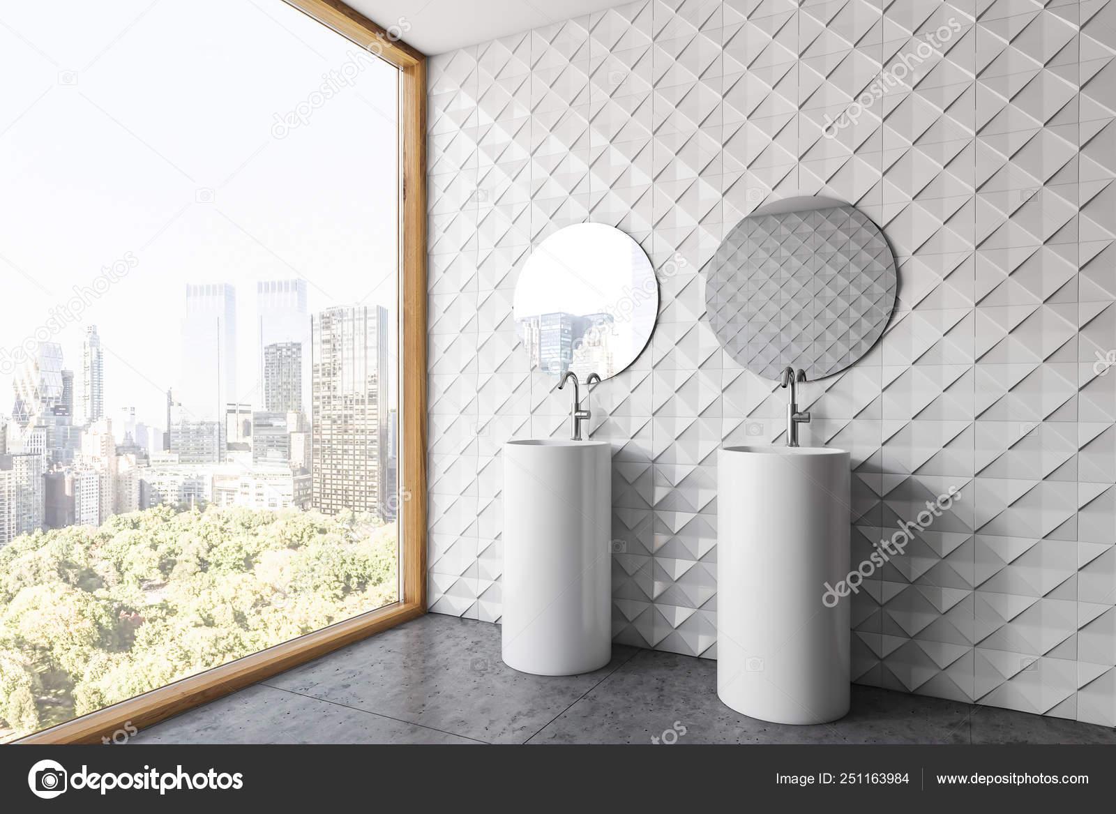 Espejos Redondos Lavabo.Azulejo Blanco Bano Esquina Lavabo Doble Espejos Foto De