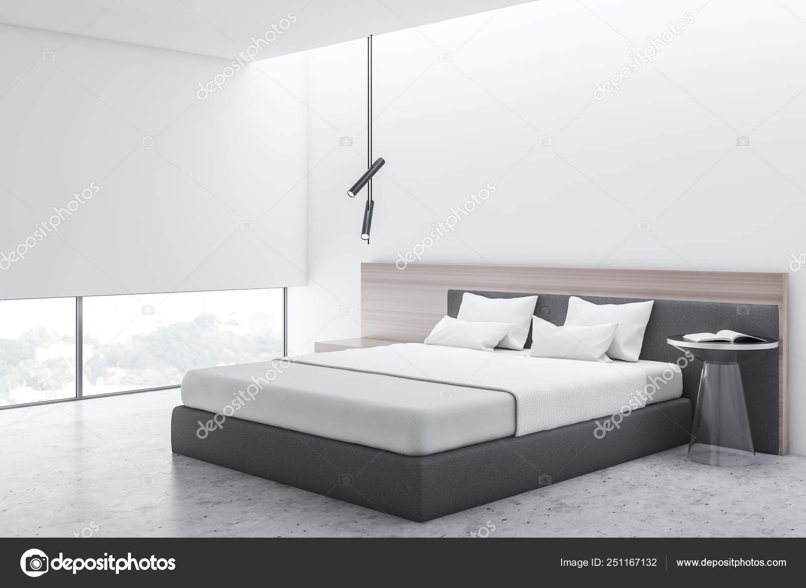 Stylish Bedroom Interior With White Bedding Of King Size Bed In Fashionable 3d Render Stock Photo C Denisismagilov 251167132
