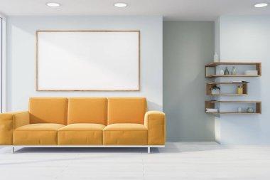 White living room, sofa, poster, shelves