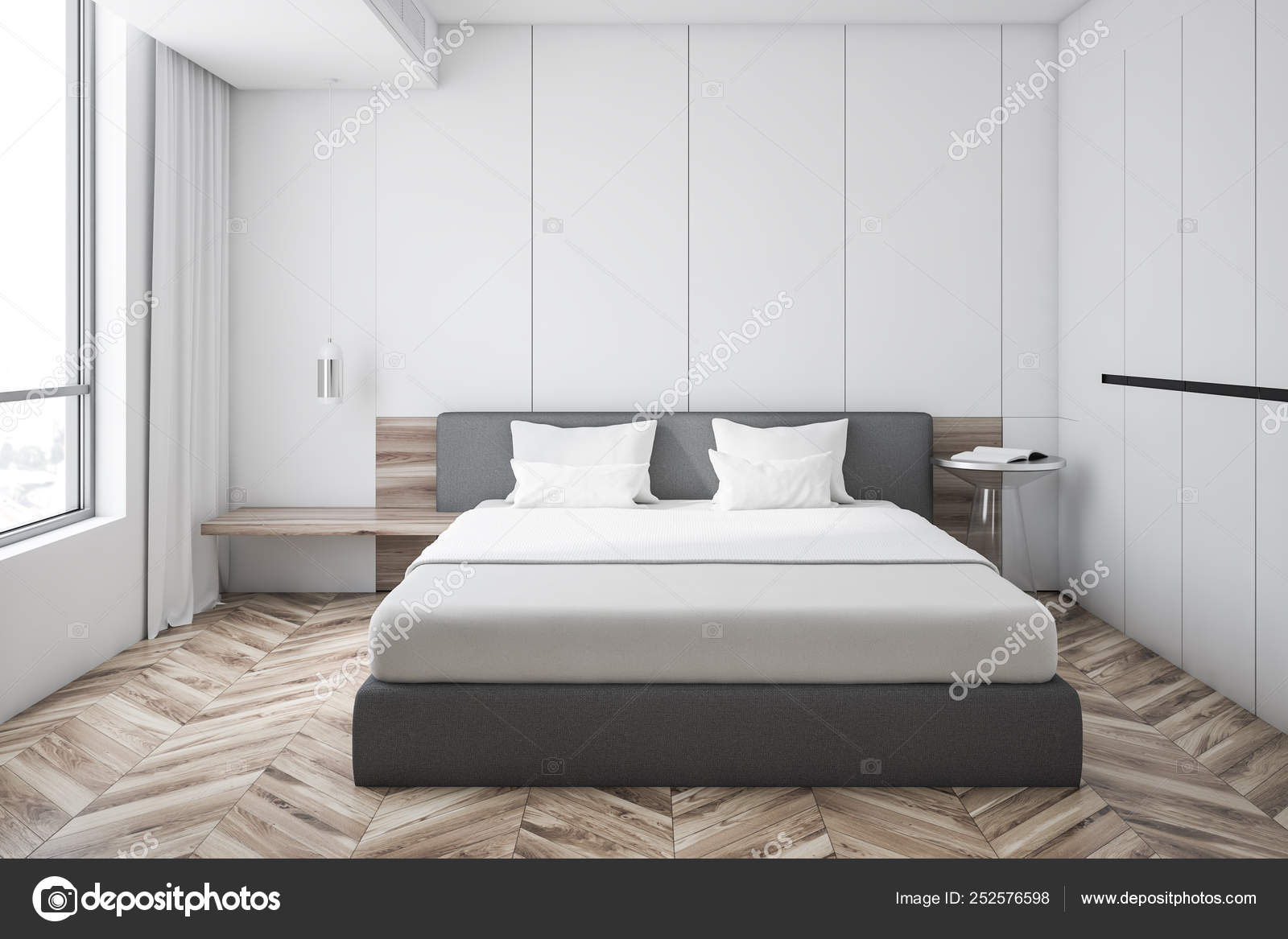 Biała Sypialnia Wnetrze Szafa Zdjęcie Stockowe