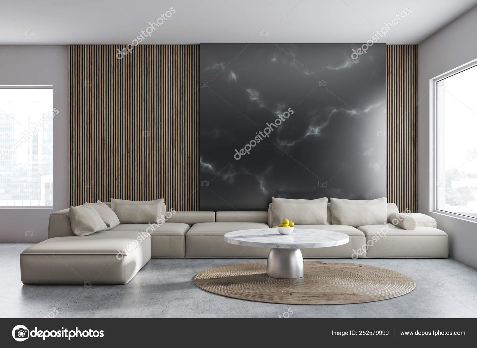 Black Marble And Wooden Living Room Interior Stock Photo C Denisismagilov 252579990
