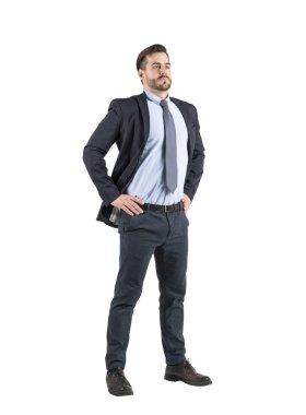 Confident businessman full length, isolated