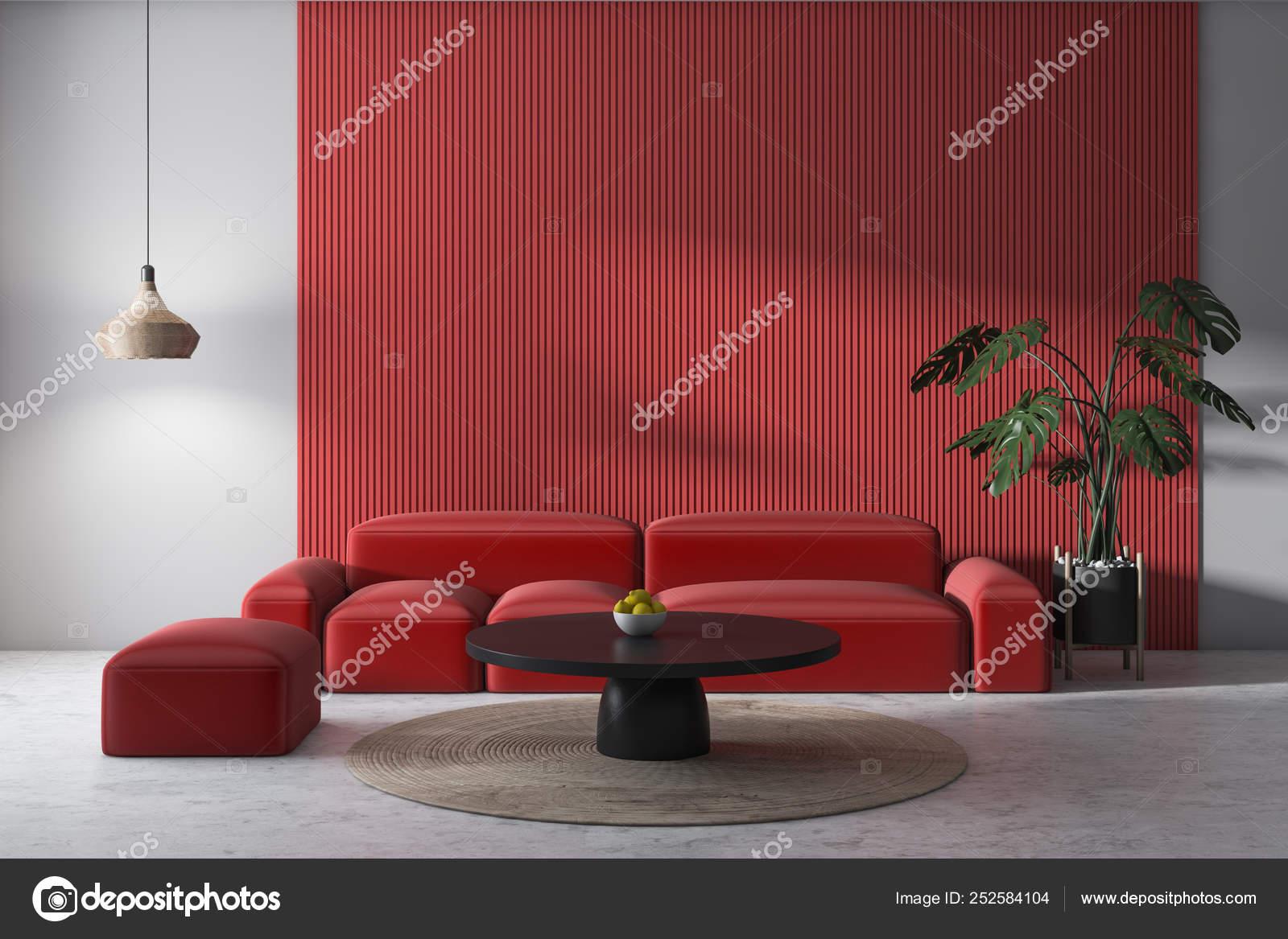Witte En Grijze Woonkamer Met Rode Sofa Stockfoto Rechtenvrije Foto Door C Denisismagilov 252584104