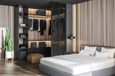Wooden master bedroom with gray wardrobe