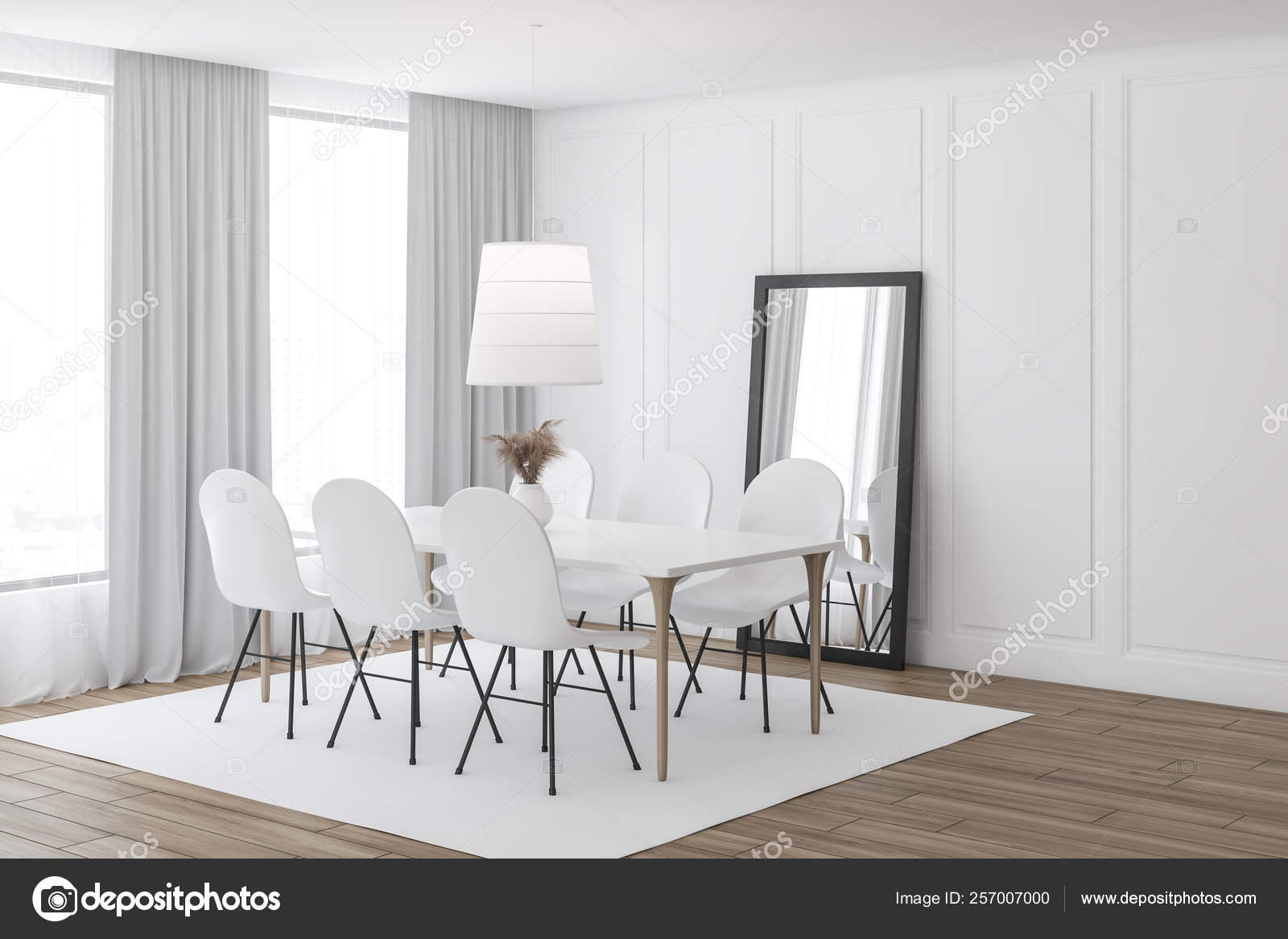 White Dining Room Corner With Mirror Stock Photo Image By Denisismagilov 257007000