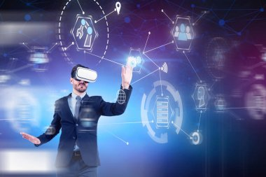 Businessman working with GUI interface in VR