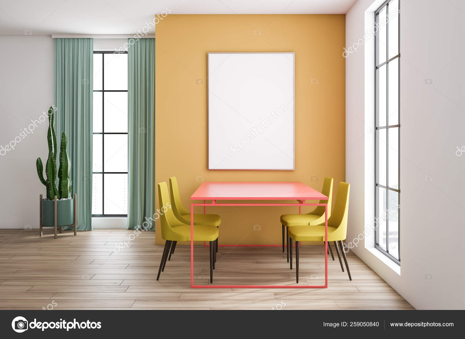 Yellow Dining Room Pink Table, Yellow And White Dining Room