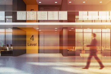 Businessman walking in business center elevator hall with gray and yellow walls and small offices behind glass doors. Toned image blur stock vector