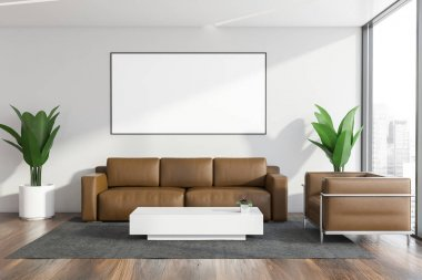 Luxury office waiting room with leather sofa and armchair standing near angular coffee table on gray carpet. Vertical mock up poster on the wall. 3d rendering stock vector